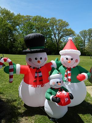 4 Foot Christmas Inflatable Snowman with Broom Yard Decoration - inflatable christmas yard decorations
