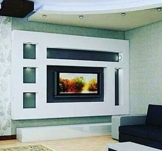 ديكور جبس للشاشه جبس بورد ديكورات جبس جبس ديكورات شاشات بلازما على الحائط Tv Unit Design Tv Wall Unit Wall Tv Unit Design