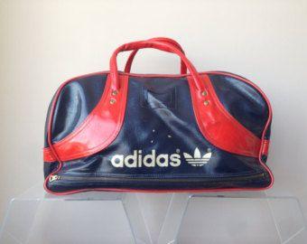 0c49e2c7ee Vintage retro 70s Blue Grey vinyl Adidas gym bag sport by HAULHOME ...