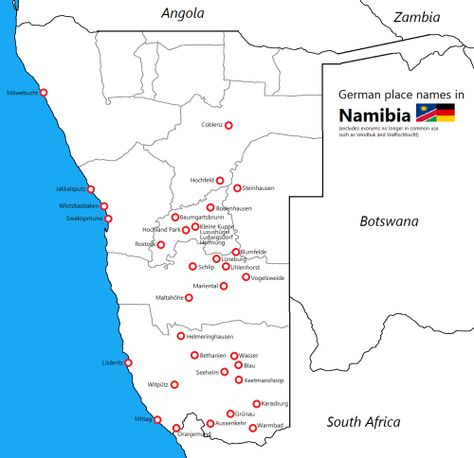 German Place Names In Namibia By Bezzlefordpretty Map