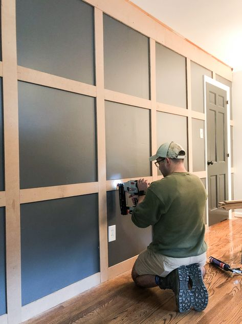 How to build a traditional style board and batten grid molding focal wall to add character and depth to any room. Accent Walls In Living Room, Accent Wall Bedroom, Dining Room Walls, Baby Bedroom, Living Room Paint, Dining Chairs, Home Renovation, Home Remodeling, Focal Wall