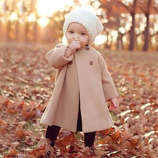 Thickened Button Solid Color Round Neck Woolen Coat | Babies