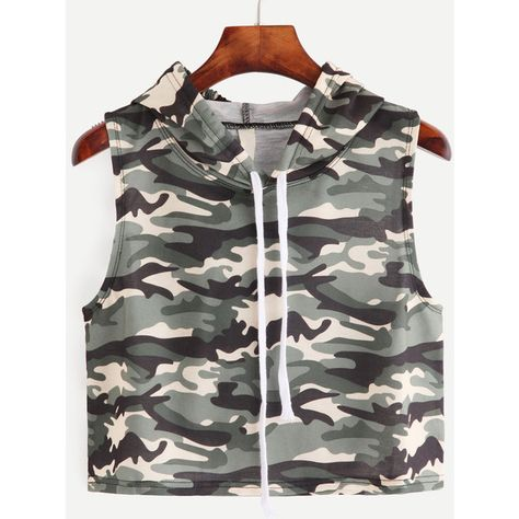 Camouflage Print Sleeveless Hooded Top — € -----------------color: Green size: one-size