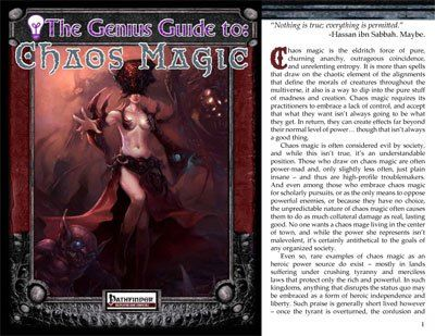 The Genius Guide to Chaos Magic has rules on chaos magic  #RPG
