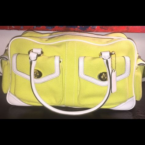Classic Coach bag. Great for summer ☀ Classic Coach bag. Bright yellow  basket weave material with white leather trim. Clean inside. d06309be4110e