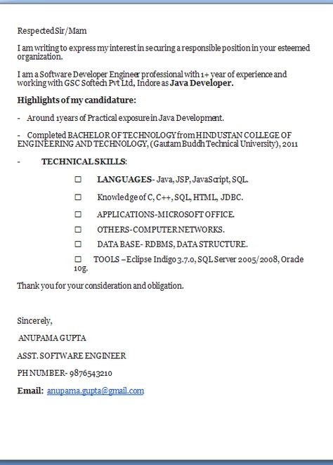good cover letter examples Excellent Professional Job Application - cover letter software engineer