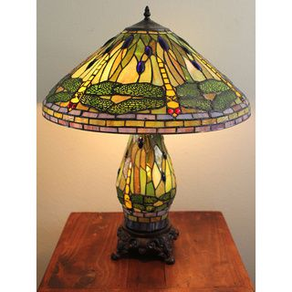 Tiffany style Yellow Dragonfly Table Lamp with Lighted Base