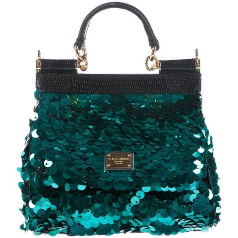 5b53a471773 Pre-owned Dolce & Gabbana Lizard-Trimmed Sequined Mini Miss Sicily Bag  ($525) ❤ liked on Polyvore featuring bags, handbags, green, green purse,  chain strap ...
