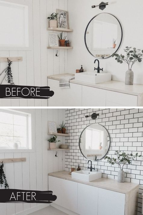A New Bathroom Accent Wall How To Hang A Mirror On Tile