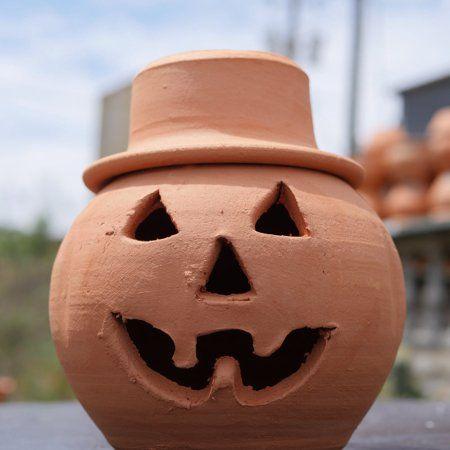 Craven Pottery Terracotta Jack O Lantern Pumpkin With Hat Planter At Walmart Com Porch Pumpkins Pottery Clay Planters