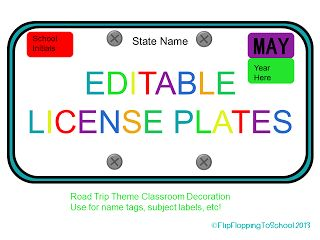 Editable License Plates For Road Trip Theme With Images Road