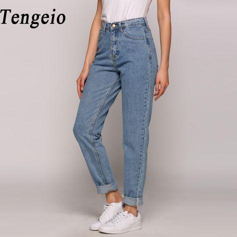 Encontrar Más Pantalones vaqueros Información acerca de Tengeio 2017 Boyfriend  Jeans Para Mujeres de Moda de Verano de La Vendimia de Cintura Alta Botón  ... a04f936a4a58