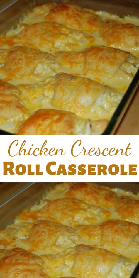 A tasty and hearty Chicken Crescent Roll Casserole to wrap up the winter. Chicken hidden underneath pillows of crescent rolls. Feed your crowd without breaking the bank. Chicken Crescent Rolls, Dinner Rolls Recipe, Dinner Recipes, Easy Casserole Recipes, Easy Main Dish Recipes, Easy Chicken Casserole, Crescent Roll Recipes, Yummy Food, Tasty