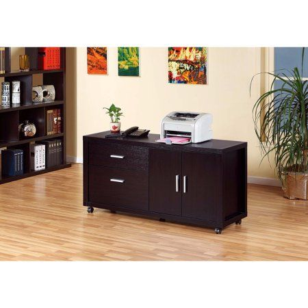 Contemporary Style File Credenza With Drawers., Brown