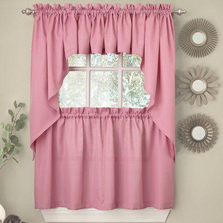 Ribcord Blush 36 Kitchen Curtain Tier Colorful Kitchen Accessories Kitchen Curtains Pink Kitchen