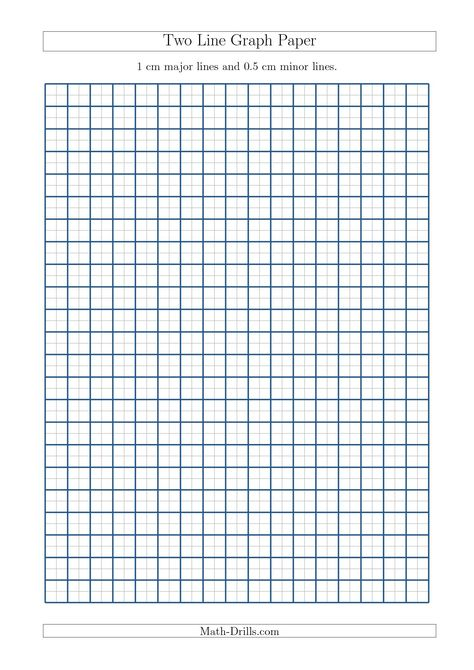 Two Line Graph Paper with 1 cm Major Lines and 05 cm Minor Lines - lines paper
