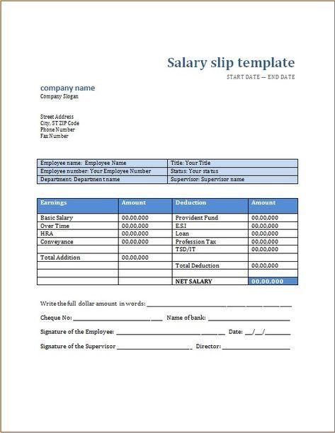 Salary Slip Templates 19 Free Printable Ms Docs Xlsx Payroll Template Templates Money Template