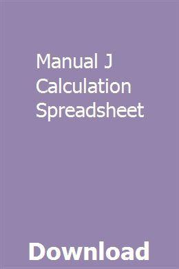 Manual J Calculation Spreadsheet