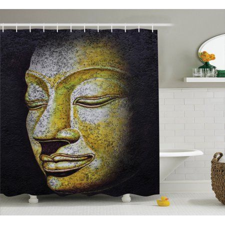 Buddha Decor Shower Curtain Set Mystical Face Of Buddha Ancient