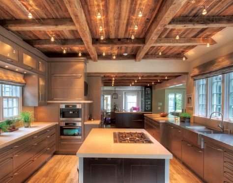 Wood Beam Ceiling Designs | Designer Modern Barn Kitchen with Beamed Ceiling