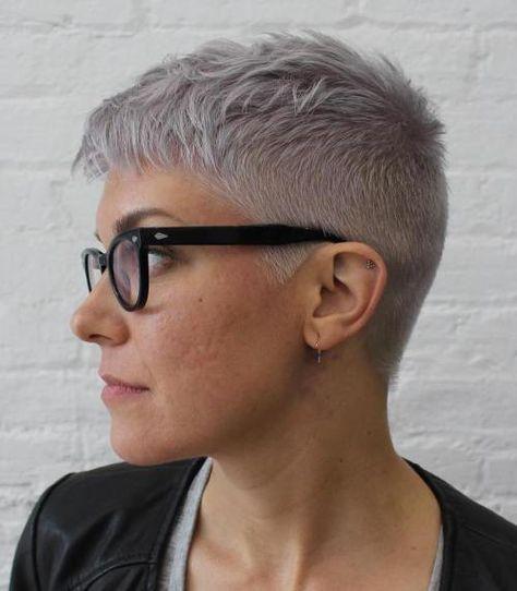 Short Gray Undercut Hairstyle For Women