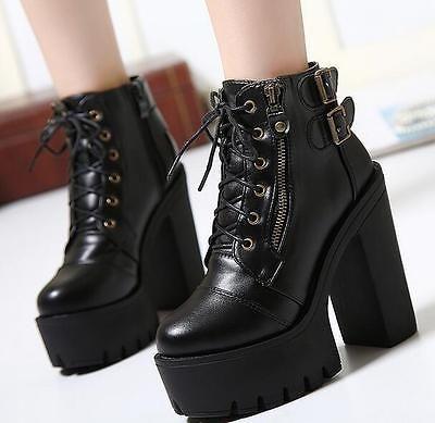 Women/'s Slip-On Block Chunky Heel Platform Pumps Gothic Punk Round Toe Shoes New