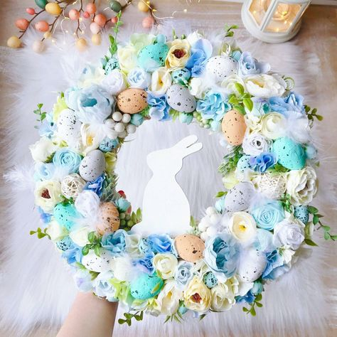 """Cute small Easter Wreath 12.5"""" Front Door Spring Wreath Blue Foyer Wreaths Easte...#blue #cute #door #easte #easter #foyer #front #small #spring #wreath #wreaths"""