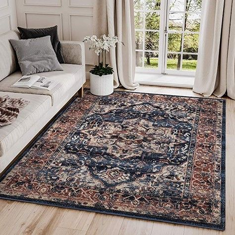 Abani Rugs Large Navy Beige Oriental Medallion Area Rug Distressed Vintage Burgundy Accents In 2020 Area Rugs Abstract Rug Rugs