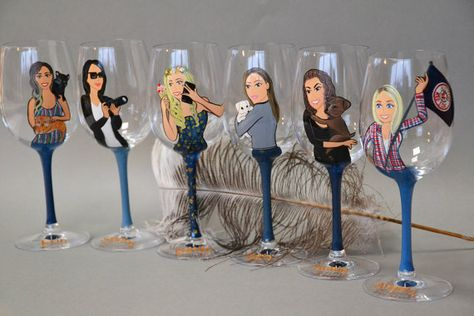 These are very special hand painted portrait glasses. I draw on high quality, durable glasses. Personalized glasses Caricatures Portraits for bridesmaids, Bride, Groom, Grandmother. I make glasses by order and you can give your bridesmaids a truly customized extraordinary hand painted glass