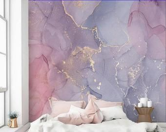 Extra Large Pink Purple Gold Marble Vinyl Wallpaper Etsy Purple And Gold Wallpaper Beige Wallpaper Ombre Wallpapers