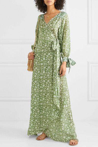 Hannah Artwear Lunar Floral Print Silke Crepe De Chine Wrap Maxi Dress Net A Porter Com Wrap Maxi Dress Long Sleeve Maxi Wrap Dress Maxi Dress