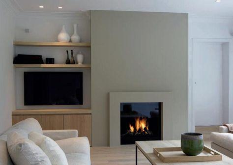 Exemple cheminée minimaliste et rangements/TV
