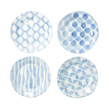 Vietri Modello Assorted Salad Plates - Set of 4 - Lt Blue