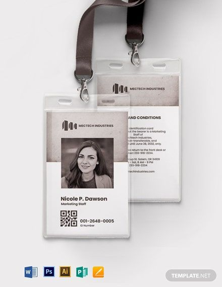 Vintage Employee Id Card Template Free Pdf Word Psd Apple Pages Illustrator Publisher Employee Id Card Id Card Template Business Card Template Design