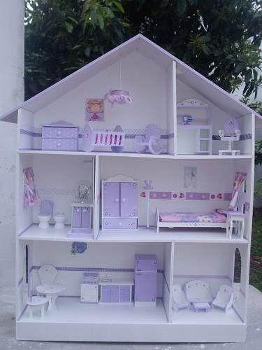 Casita de mu ecas barbie 3 pisos c muebles y luz 1 25m - Casa de munecas ...