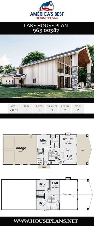 House Plan 963 00387 Lake Front Plan 2 079 Square Feet 3 Bedrooms 2 5 Bathrooms Lake House Plans Metal Building House Plans Metal House Plans