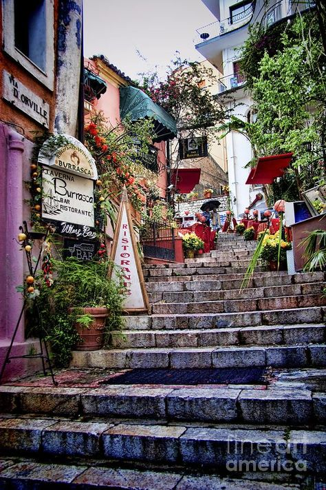 Taromina Steps in Sicily a fine art print from our Sicilian towns and villages gallery