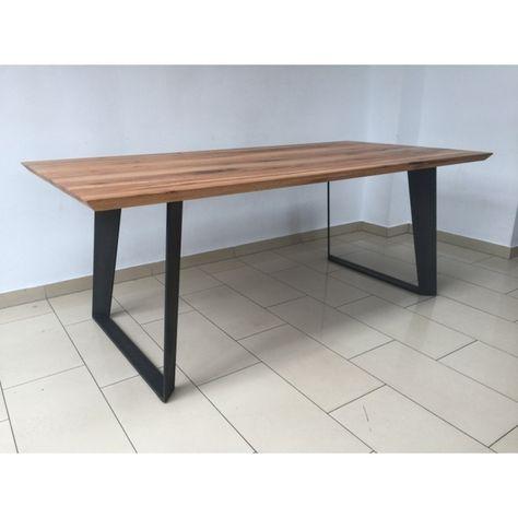 Esstisch Eiche Tischplatte Tisch Massiv Eiche Gestell Metall