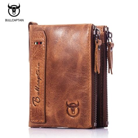 BULLCAPTAIN Men/'s Genuine Leather Short Bifold Wallet Coin Purse Card Holder
