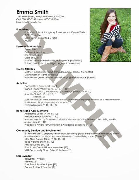Sorority Resume How to Sorority resume, Freshman and Sorority - resume for freshman in college