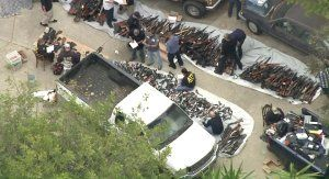 Atf Officials Investigate After Hundreds Of Guns Are Found In A Bel Air Home On May 8 2019 Credit Ktla Bel Air Guns Los Angeles Police Department