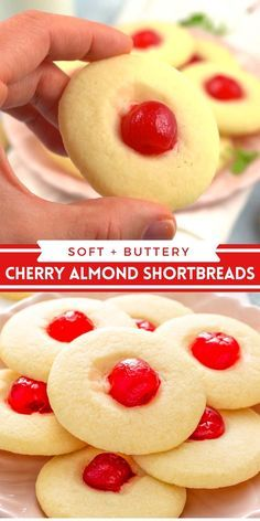 These super soft and buttery Cherry Almond Whipped Shortbread Cookies have a bright red cherry in the center making them irresistible! #Cookies #CookieRecipes #Shortbread #ShortbreadCookies #Almond #Cherry #CherryAlmond #ValentinesDayRecipes #WhippedShortbreadCookies