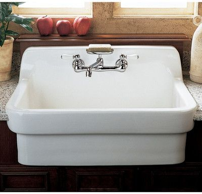 Wayfair Lorraine Kitchen Sink High Splash Back For Use With A Wall Mount Faucet Requir Country Kitchen Sink Wall Mount Kitchen Faucet Farmhouse Sink Kitchen