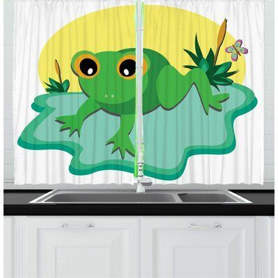 East Urban Home 2 Piece Frogs Funny Eyes Tiny Amphibian Animal On Big Leaf And Pond Plants With Vivid Butterfly Kitchen Curtain Set Wayfair Amphibian Animal