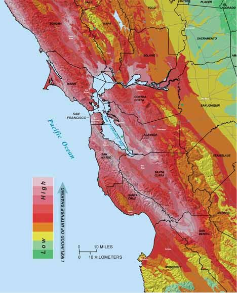 map of bay area with areas apt to shake more shown in reds and those apt to shake less in greens san francisco bay area pinterest geography