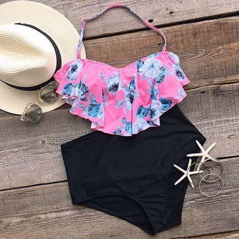 afcd6797ca4 Cupshe Way to Sway Floral Falbala Bikini Set   Summer!   Pinterest ...