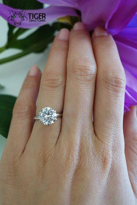 3 Carat White Gold 6 Prong Round Solitaire Ring Engagement Ring Man Made Diamond Simulant Promise Ring Wedding Bridal Ring