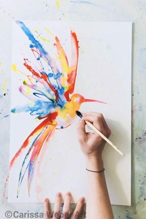Process video of a watercolor hummingbird painting by Carissa Weber Art. Original available for purchase at CarissaWeberArt.etsy.com ❤️ #processvideo #artistprocess #artist #artstudios #diyart #diyartwork #artideas #watercolorart #watercolorartist #watercolorpainting #artvideos #hummingbirds #hummingbirdart #birdart #birds #artsy