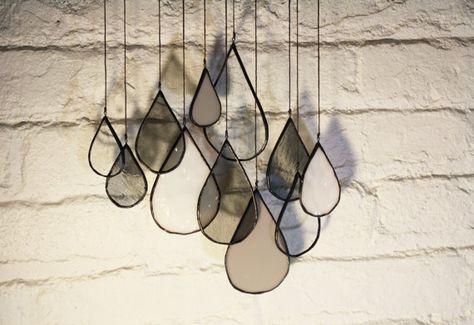 Glasmalerei-Elemente: Regentropfen (Gruppe von 11)