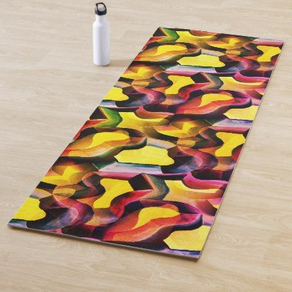 Art Deco Abstract Multicolored Painted Pattern Yoga Mat Zazzle Com Painting Patterns Abstract Painting Art Deco